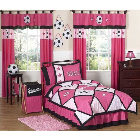 Pink Soccer Bedding Set - 4 Piece Twin Size By Sweet Jojo Designs