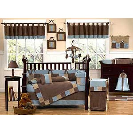 Soho Blue and Brown Crib Bedding Set by Sweet Jojo Designs - 9 piece