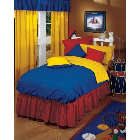 Solid Blue Bedskirt - Twin Size - from the Primary Colors Collection