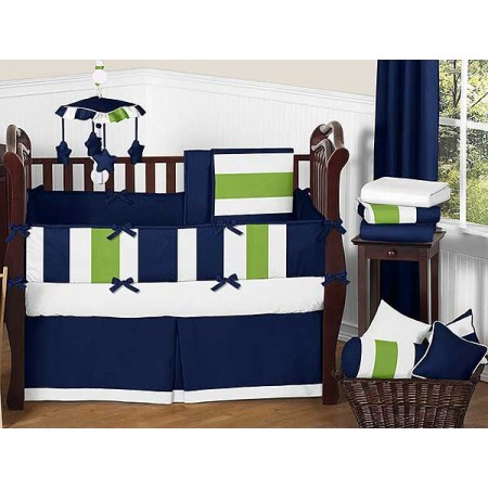 Navy & Lime Stripe Crib Bedding Set by Sweet Jojo Designs - 9 piece