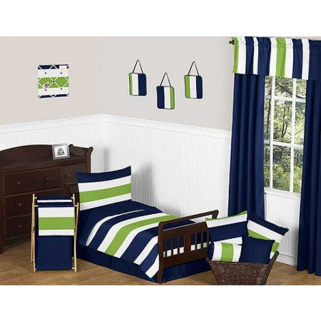 Navy & Lime Stripe Toddler Bedding Set By Sweet Jojo Designs