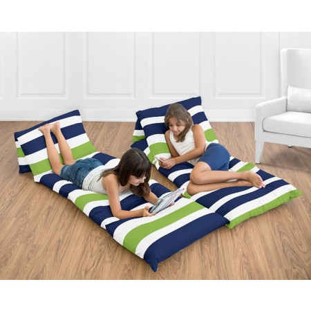 Stripe Navy Blue & Lime Green Pillow Case Lounger
