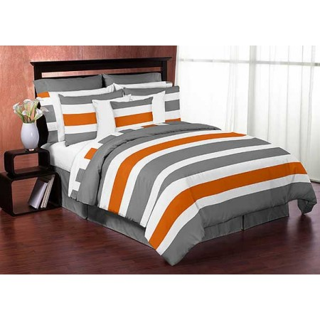 Gray & Orange Stripe Comforter Set - 3 Piece Full/Queen Size By Sweet Jojo Designs