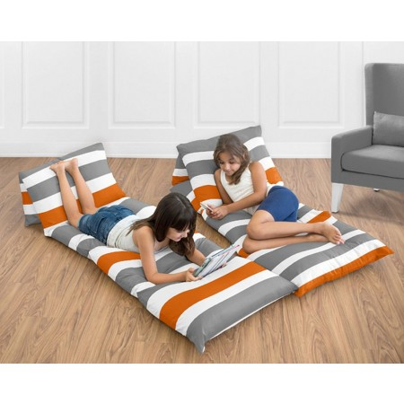 Stripe Gray & Orange Pillow Case Lounger