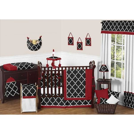 Red & Black Trellis Crib Bedding Set by Sweet Jojo Designs - 9 piece