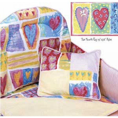 Two Hearts 4 Piece Crib Bedding Set (Hollywood Bumper) by California Kids