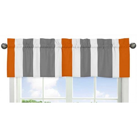 Gray & Orange Stripe Valance