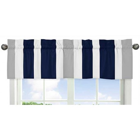 Navy & Gray Stripe Valance