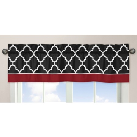 Red & Black Trellis Window Valance