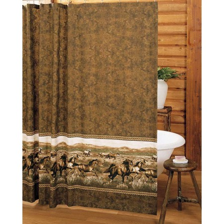 Wild Horses Shower Curtain - Cabin Themed Shower Curtain
