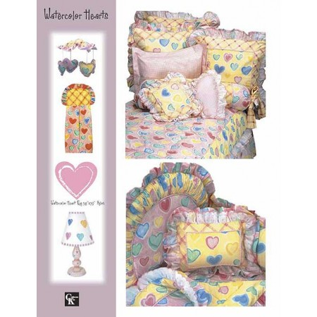 Watercolor Hearts Window Valance