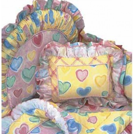 Watercolor Hearts 4 Piece Standard Crib Bedding Set by California Kids