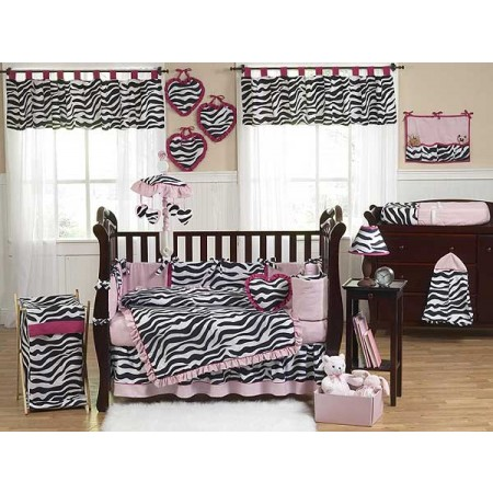 Hot Pink Zebra Crib Bedding Set by Sweet Jojo Designs - 9 piece