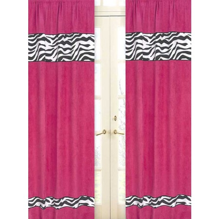 Pink Zebra Window Panels