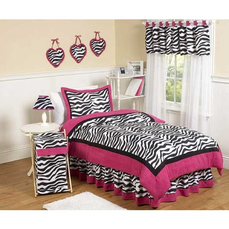 Hot Pink Zebra Bedding Set - 4 Piece Twin Size By Sweet Jojo Designs