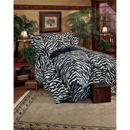 Kimlor Black & White Zebra Print California King Size Bed in a Bag Set