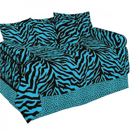 Blue Zebra Print Daybed Cover Set