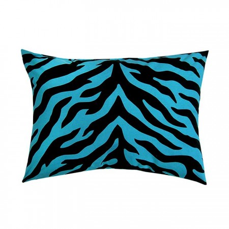 Blue Zebra Print Oblong Accent Pillow