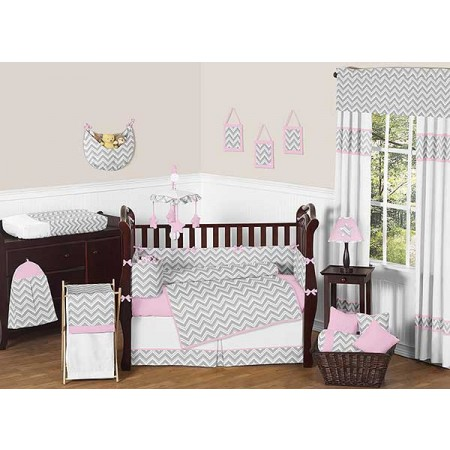 Zig Zag Pink & Gray Chevron Print Crib Bedding Set