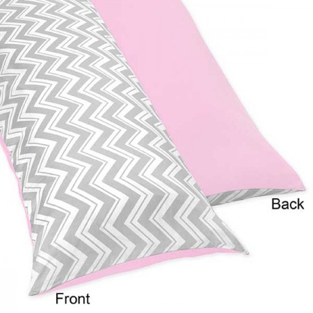 Zig Zag Pink & Gray Chevron Print Body Pillow Cover