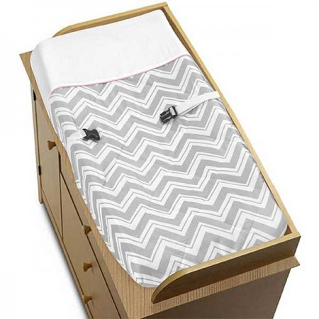 Zig Zag Pink & Gray Chevron Print Changing Pad Cover