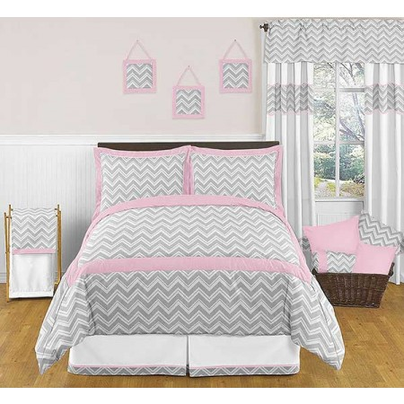 Zig Zag Pink & Gray Chevron Print Bedding Set - 3 Piece Full/Queen Size
