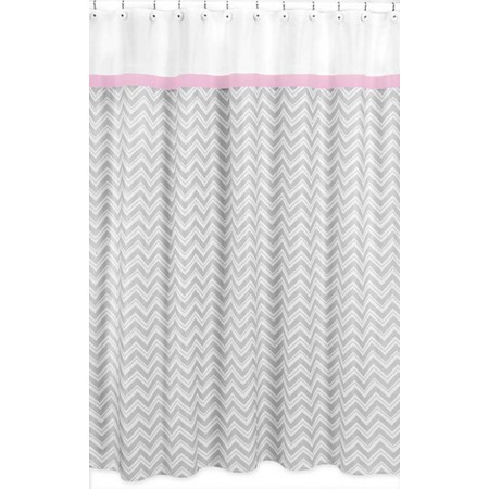 Zig Zag Pink & Gray Chevron Print Shower Curtain