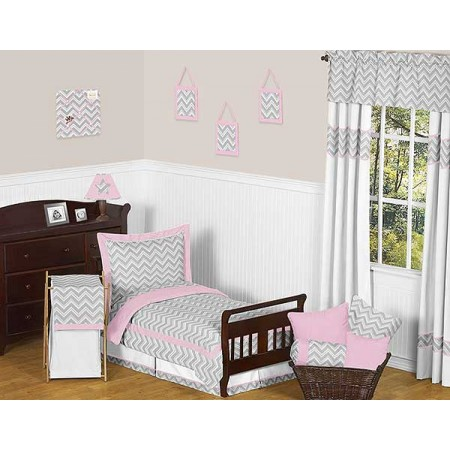 Zig Zag Pink & Gray Chevron Print Toddler Bed Set