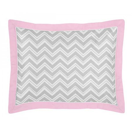 Zig Zag Pink & Gray Chevron Print Pillow Sham