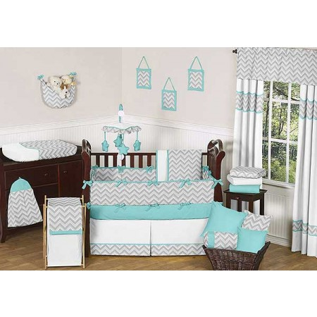 Zig Zag Turquoise & Gray Chevron Print Crib Bedding Set