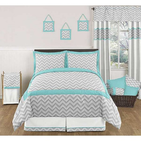 Zig Zag Turquoise & Gray Chevron Print Bedding Set - 3 Piece Full/Queen Size