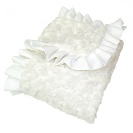 Receiving Blanket - Ruffle Trimmed White Swirl Velour