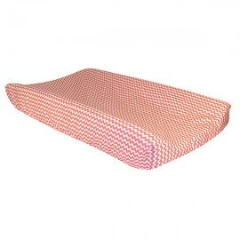 Changing Pad Cover - Coral Pink And White Chevron