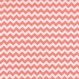 Coral Pink And White Chevron - Crib Sheet