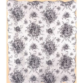 French Country Black Throw Size Quilt