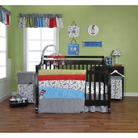 DR. SEUSS CAT IN THE HAT -3 PIECE CRIB BEDDING SET
