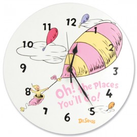 Dr Seuss Oh The Places You'll Go (Pink) Wall Clock