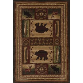 Bear Wilderness Toffee Area Rug - Cabin Style