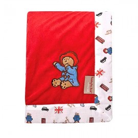 Paddington Bear Framed Red Velour Receiving Blanket