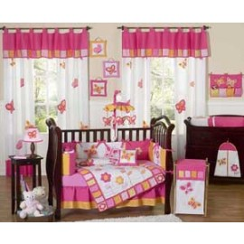 Butterfly Pink & Orange Crib Bedding Set by Sweet Jojo Designs - 9 piece