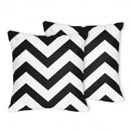 Black & White Chevron Accent Pillow - Set of 2