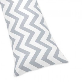 Grey & White Chevron Print Body Pillow Cover
