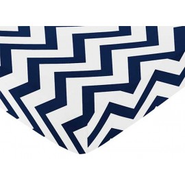Navy & White Chevron Print Crib Sheet
