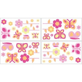 Butterfly Pink & Orange Wall Decals