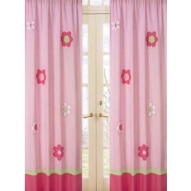 Flower Pink and Green Window Panels