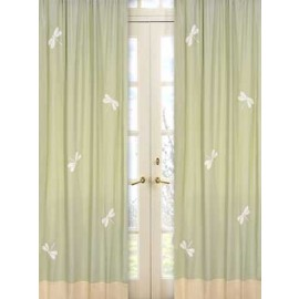 Sage Green Dragonfly Dreams Window Panels