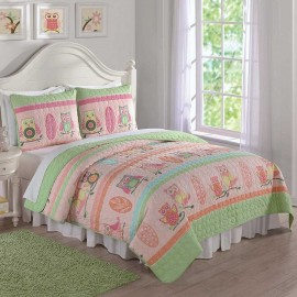 Owl Stripe Full/Queen Quilt and Shams