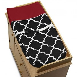 Red & Black Trellis Changing Pad Cover