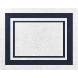 Hotel White & Navy Blue Floor Rug