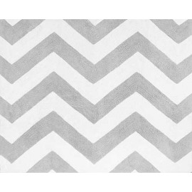 Zig Zag Turquoise and Gray Chevron Accent Floor Rug
